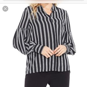 Vince Camuto Black/white Stripe Puff Sleeve blouse